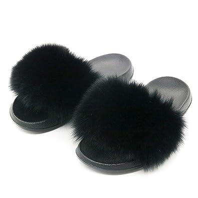 e455e955 Summer Women Slippers Slides Female Furry Indoor Flip Flops Casual Beach  Sandals,Black,6.5