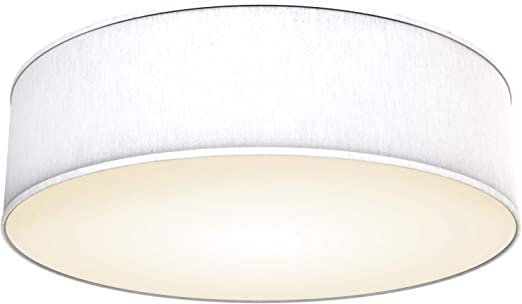 Plafoniera rotonda Lampadario camera da letto IP20 Plafoniera soffitto in tessuto bianco Lampadari moderni per soggiorno ufficio Diametro 40cm attacco per 3 lampadine E14