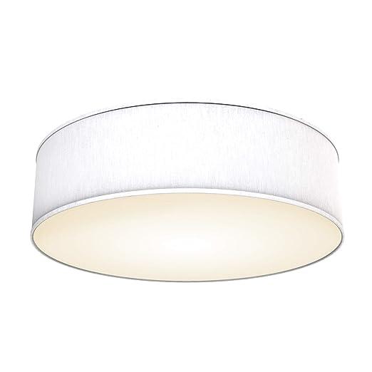 Lámpara de techo moderna con pantalla textil Ø 40cm, Lampara LED con 3 llamas, Luz de techo de tela E14, Pantalla de Algodón blanco