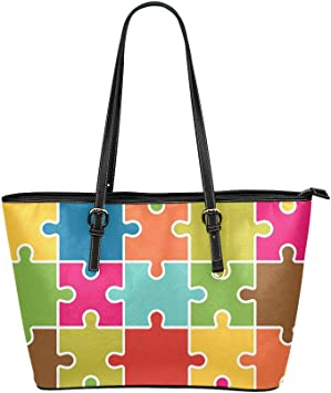 Difficult Endless Jigsaw Puzzle Pieces Large Soft Leather Portable Top Handle Hand Totes Bags Causal Handbags With Zipper Shoulder Shopping Purse Luggage Organizer For Lady Girls Womens Work
