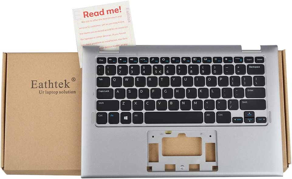 Eathtek Replacement Keyboard with Palmrest Upper Case without Touchpad for Dell Inspiron 11 3147 3148 series Silver US Layout, Compatible with part number 0R68N6 R68N6 V144725AS1 07W4K6
