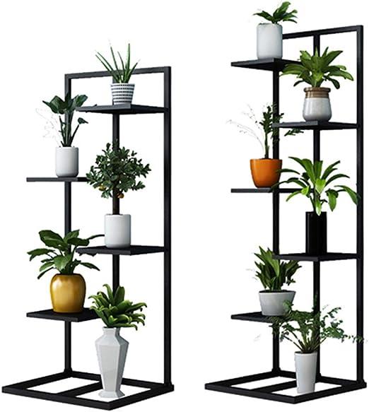 Estante de Flores Plancha de Metal Planta Soporte de exhibición Estante de Almacenamiento en el jardín Estante Exterior para macetas Interior Sala de Estar Balcón en Negro (Juego de 2): Amazon.es: Hogar