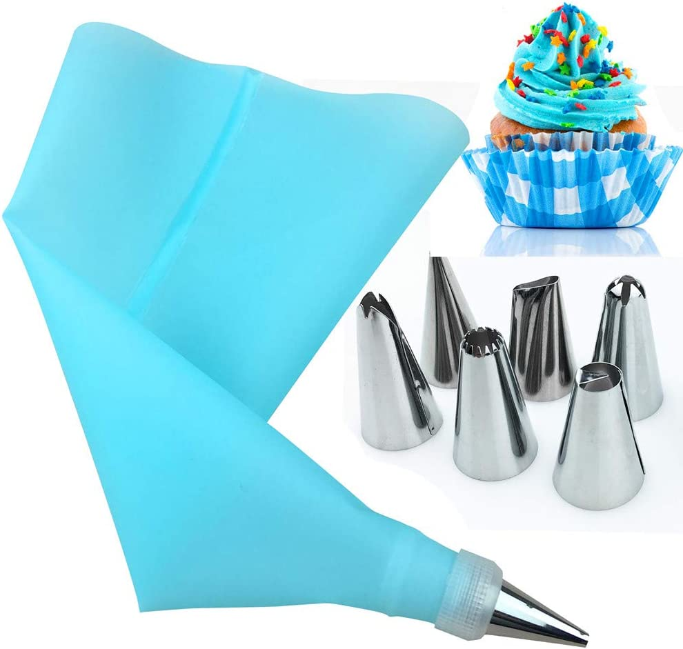 AukCherie Boquillas para repostería, 8 Piezas, de Acero Inoxidable, 6 boquillas, 1 Bolsillo para repostería, 1 acoplador, DIY Kits para decoración de Tartas (blue1)