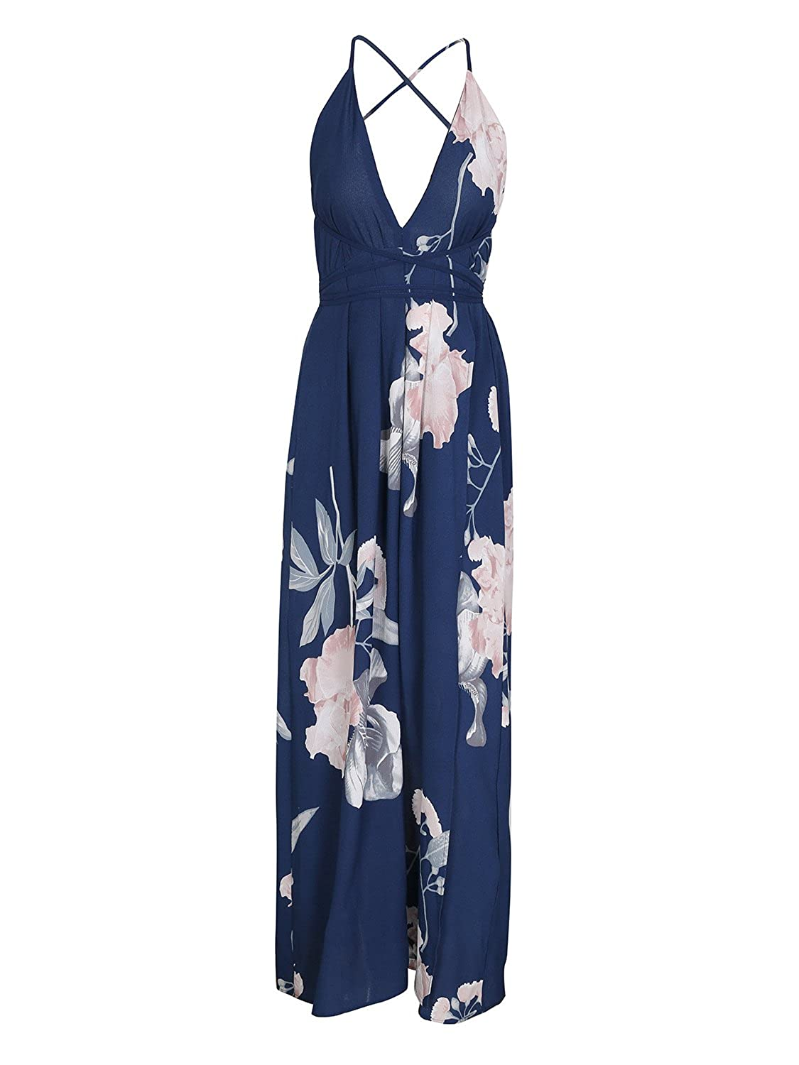 883e0f637341 BerryGo Women s Boho Backless Floral Beach Dress Sexy Split Maxi Dress at  Amazon Women s Clothing store