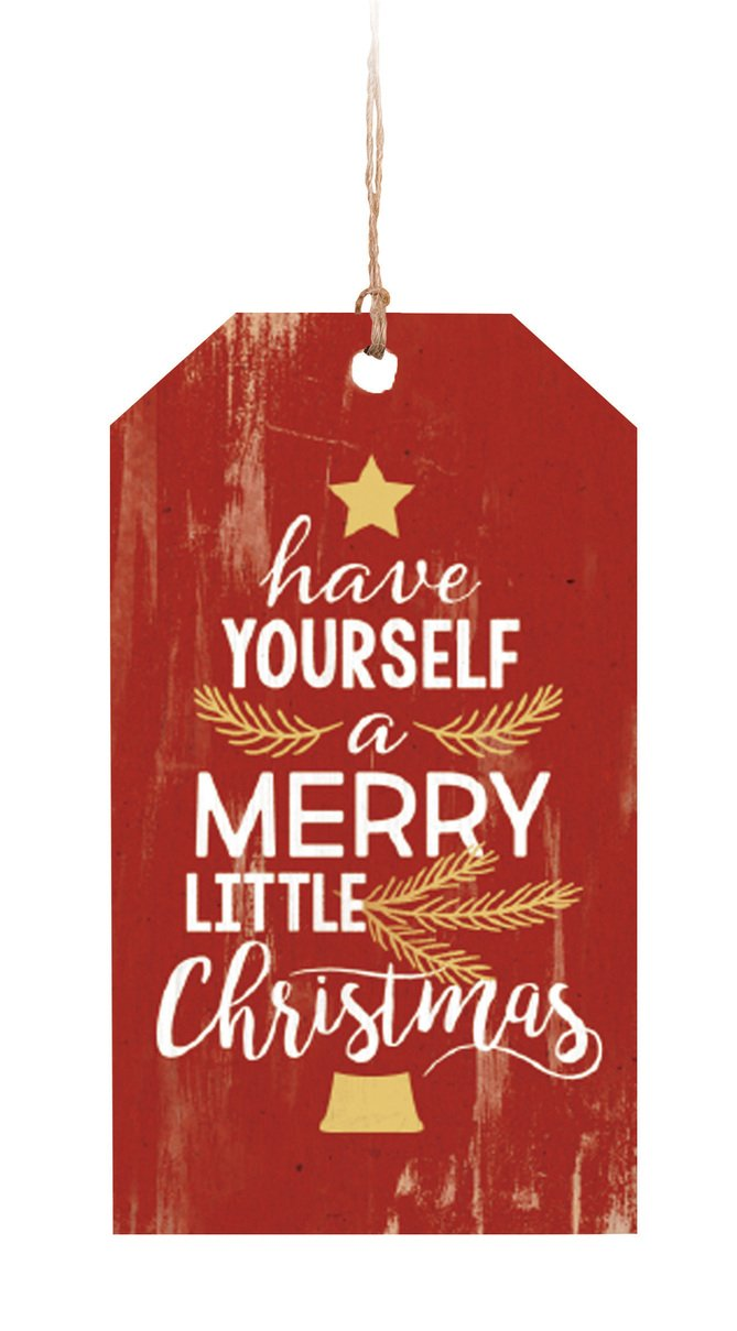 Graham Dunn Have Yourself a Merry Little Christmas Red 2 x 3.5 Wood Tag Ornament P