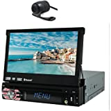 One Din Detachable Panel Auto DVD Player GPS Navigation Radio Ipod Bluetooth 7 inch Single Din Car Stereo HD Touchscreen USB SD IPOD Car Radio with Back Camera