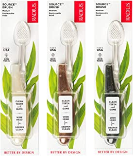 product image for RADIUS Toothbrush Source Medium Brush - 3 Pack in Assorted Colors, BPA Free and ADA Accepted, Designed to Improve Gum Health and Reduce the Risk of Gum Disease