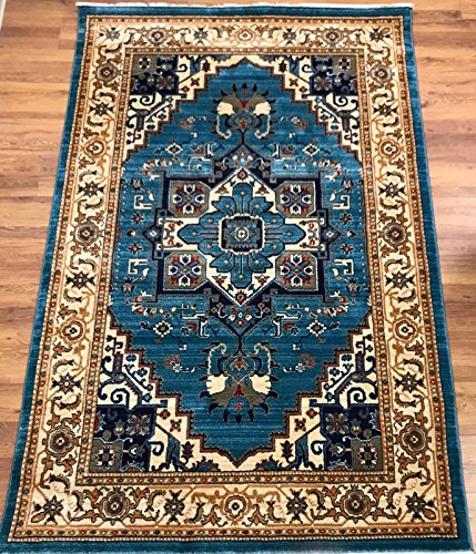 Antep Rugs ORIENTAL Collection TEBRIZ Oriental Polypropylene Area Rug (BLUE/IVORY , 8' X 10') by Antep Rugs