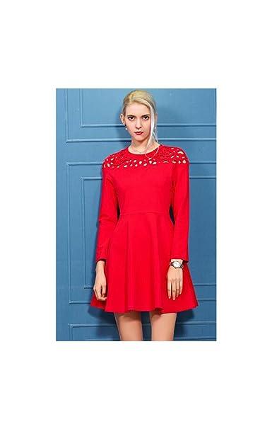 SONGQINGCHENG La Primavera Y El Otoño La Mujer Butterfly Calados Lindo Vestido Rojo Corto Slim Mini