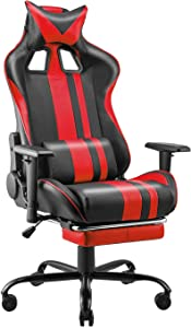 Soontrans PC Computer Chair,Red Gaming Chair,High Back Computer Chair,PU Leather Office Chair with Adjustable Height Armrest,Headrest and Lumbar Support,180° Tiltable(Flame Red)