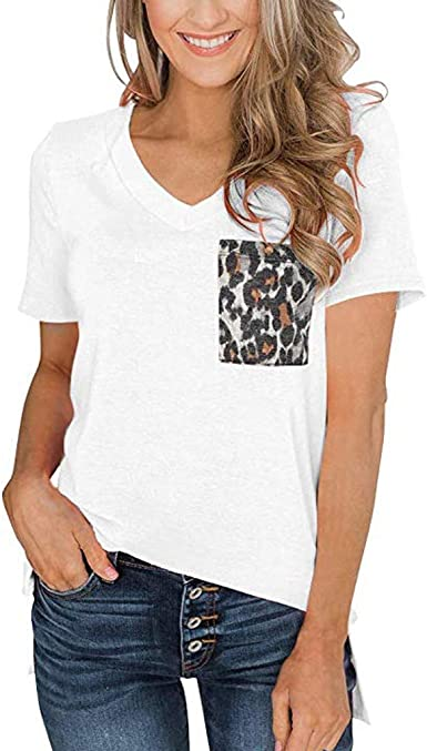 TUBUZ Blusas Mujer Manga Corta Verano Leopardo de La Camiseta del Cuello En V Camisas Camisetas Moda 2019: Amazon.es: Ropa y accesorios