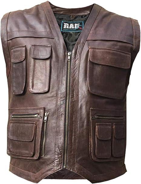 Small Motorbike Leather Waistcoat Mens Leather Vest Trapper Multi Pocket Motorcycle Gilet Waistcoat