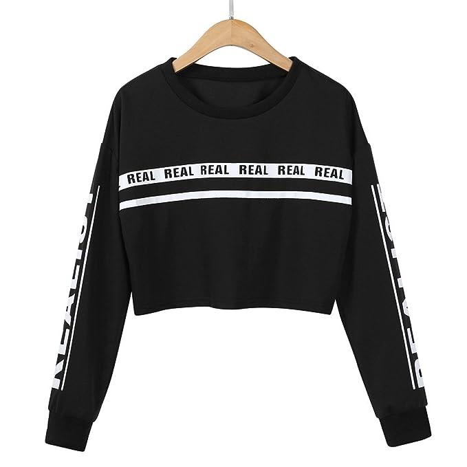 Beikoard 2018 Moda Mujer Imprimir Recorte Camiseta Blusa Superior,Letra Impresa Sudadera Suelta Negro/Vino/Rojo: Amazon.es: Ropa y accesorios