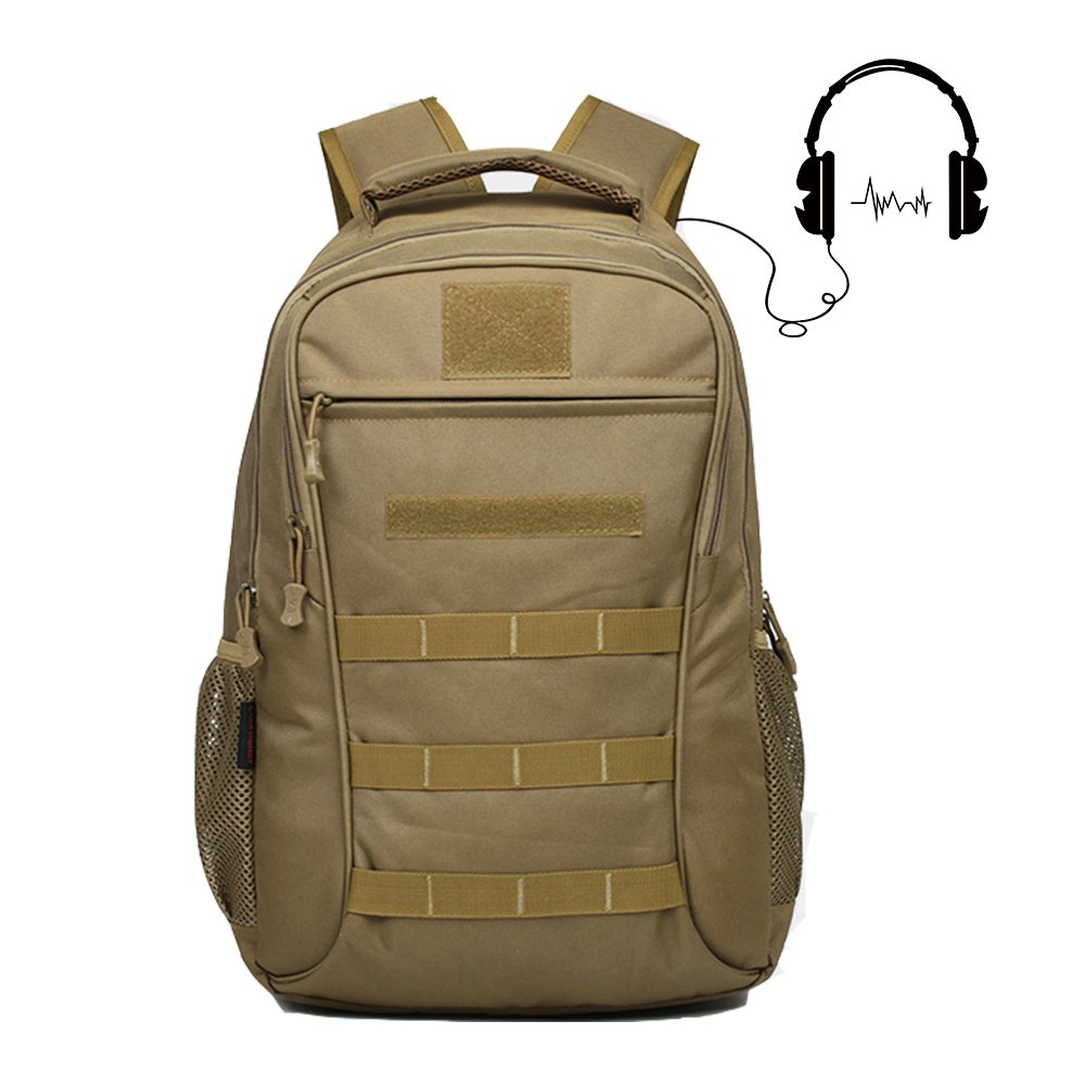 Backpack, Schoolbag, Business Laptop Computer Rucksack, Tactical Backpack, with USB Charging Port and Headset Port, Suitable for Outdoor Exercise, School, Cycling and Travel