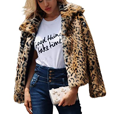 2440f4ddbade Parkside wind Women s Faux Fur Leopard Print Coat Jacket Elegant Casual  Warm Winter Autumn Thick Outerwear