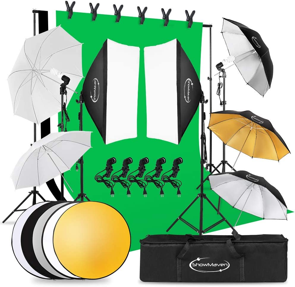 ShowMaven Lighting Kit Photography, 6.5ft x 10ft Background Support System and Umbrellas Softbox Continuous Lighting Kit for Photo Studio Product, Portrait and Video Shoot Photography