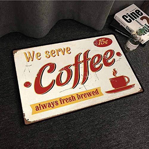 - DILITECK Pet Door mat Retro Tin Rusty Faded Fresh Brewed Coffee Print from Old Days Fifties Style Art Work Country Home Decor W31 xL47 Cream Red Orange