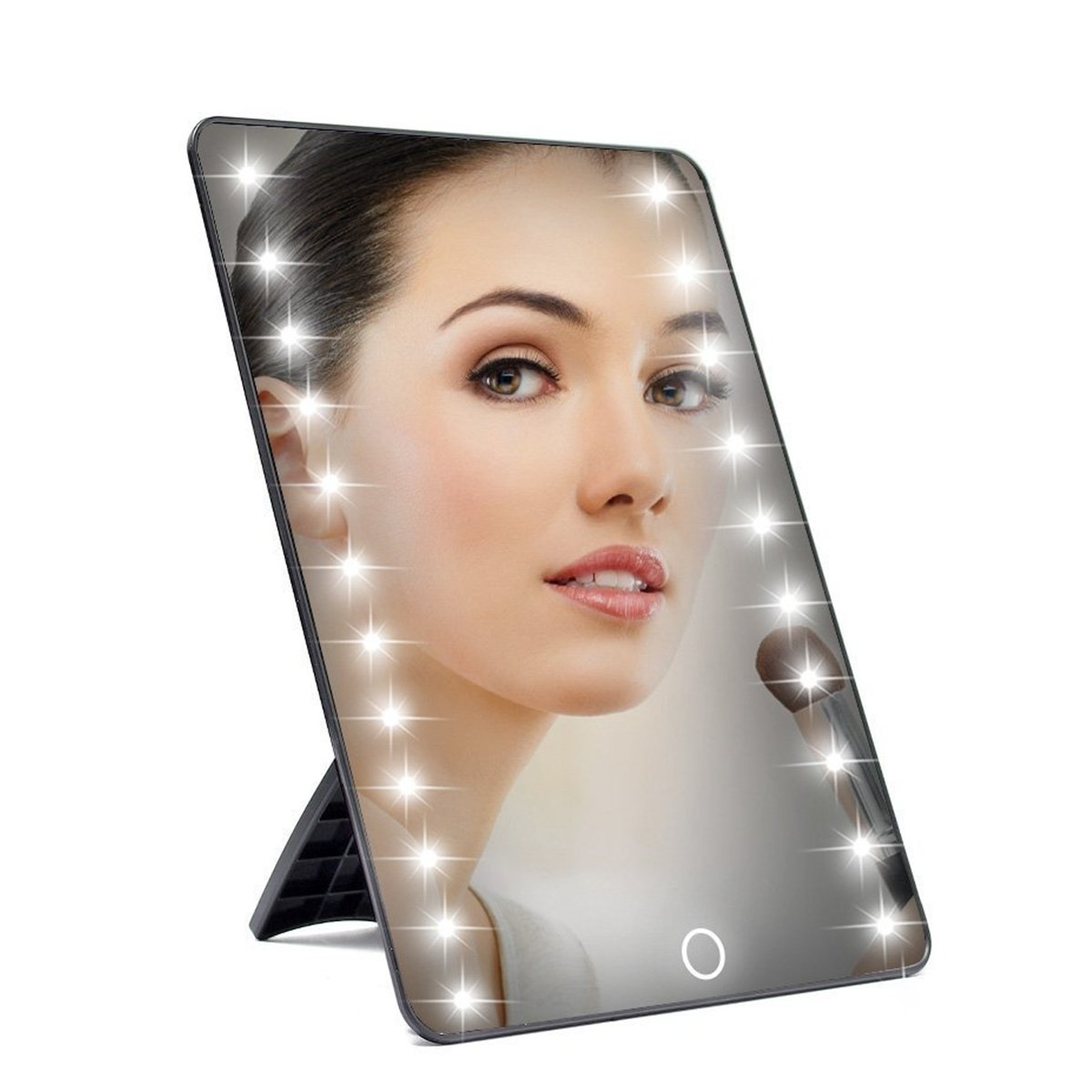 Foldable Lighted Vanity Mirror,Charminer Smart Touch 16LED Light Makeup Mirror Adjustable Brightness Illuminated Cosmetic Countertop Table Mirror Touching ON/OFF
