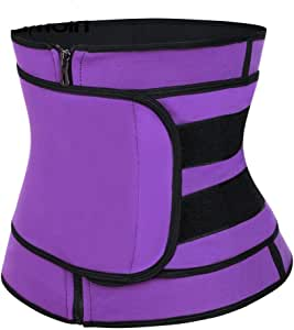 YJD Waist Trimmer Belt,Waist Trainer for Women, Weight Loss and Sweat Wrap, Abdominal Trainer, Adjustable Waist Cincher Trimmer, Sport Sauna Effect Purple-XXXL