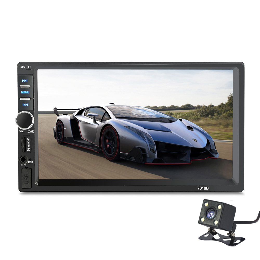 2 Din 7018B General Car Models 7'' inch LCD Touch Screen Car Radio Player Bluetooth Car Audio+ Rear View Camera (NO DVD) by Movka