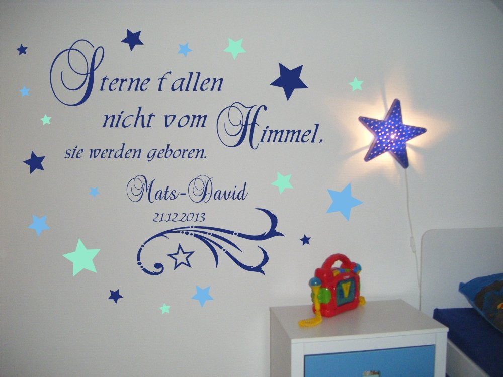 XXL Wandtattoo Mit Namen Fürs Kinderzimmer In Blau   Geschenk Zur Taufe  Oder Geburt Für Kinder, Baby ~ Sterne Fallen Nicht Vom Himmel, Sie Werden  Geboren ...