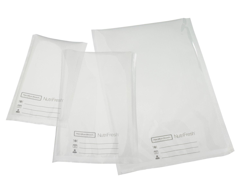 Hamilton Beach Commercial HVBX1100 NutriFresh Vacuum Sealer Bags, 8 x 12, 3 Mil, Clear (Pack of 100)