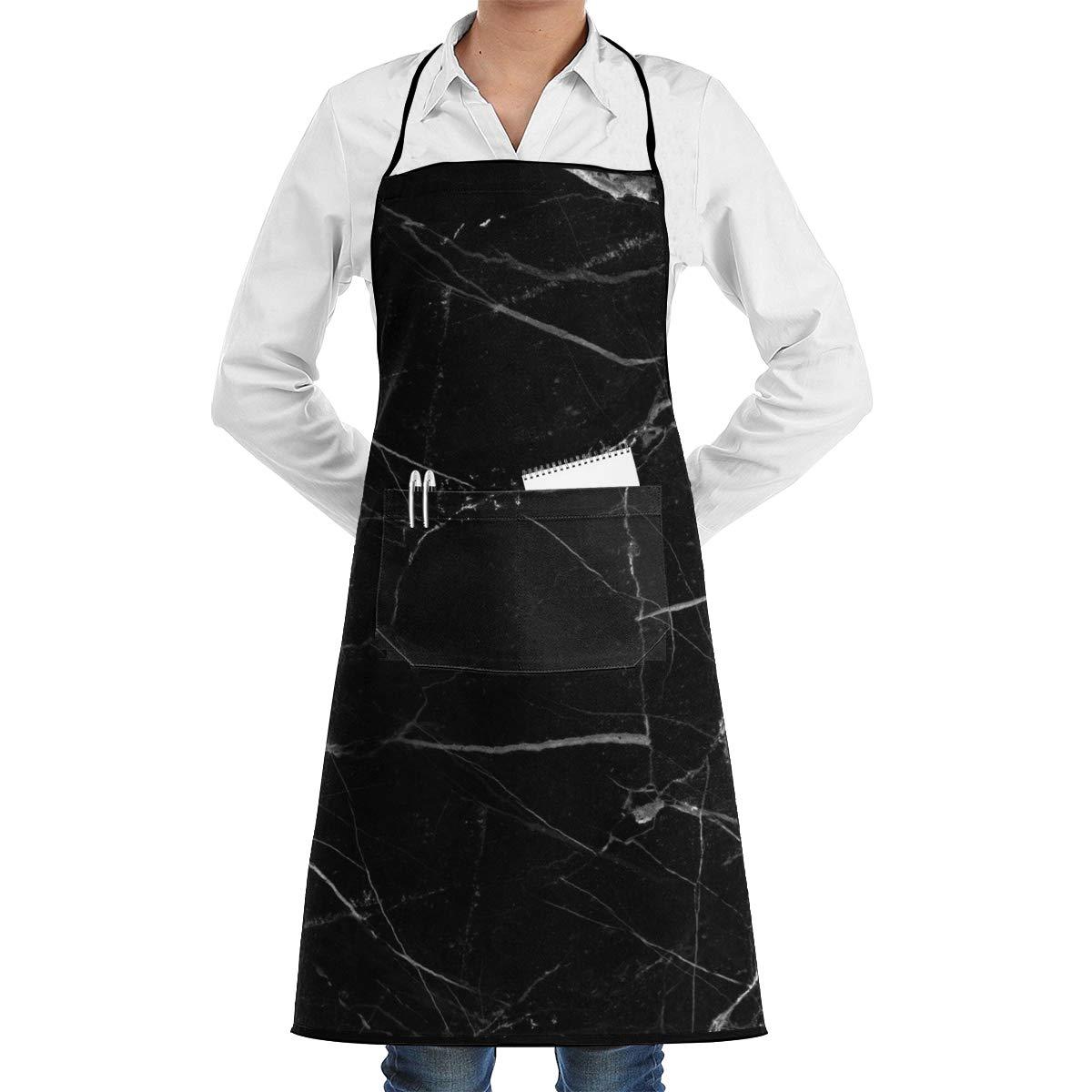 FUNINDIY ビブエプロン ポケット付き ブラック 大理石 キッチンエプロン 防水 料理 ベーカー サーバー BBQ 20インチ X 28インチ   B07L6TZ6Q5