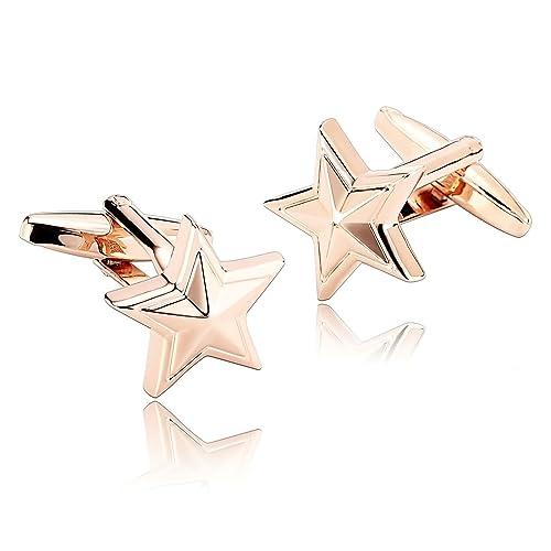 Beydodo Gemelos para Camisa Estrella Gemelos Acero Gemelos para Camisa Oro Rosa: Amazon.es: Joyería