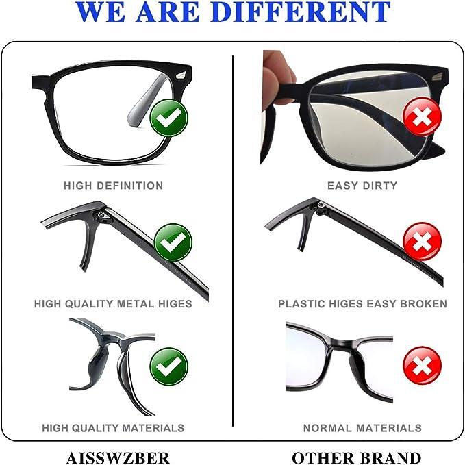 AISSWZBER Unisex Stylish Square Non-Prescription Eyeglasses Clear Lens Glasses
