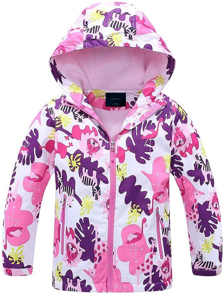 Jingle Bongala Boys Girls Outdoor Waterproof Rain Jacket Fleece Lined Raincoat