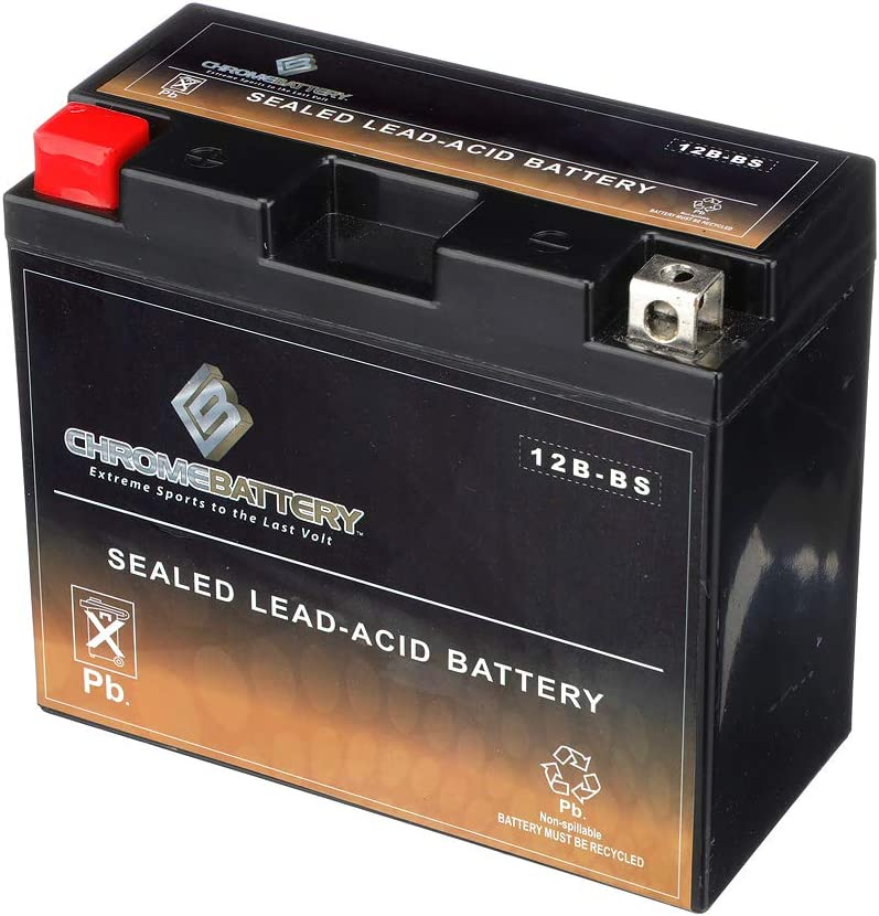 YT12B-BS Powersport Battery- Rechargeable Sealed AGM Battery- Replaces MTX12B-BS, ETX12B-BS, PTX12B-BS- Chrome Battery