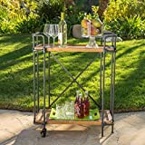 Samara Outdoor Natural Wood Finish Fir Wood and Iron Bar Cart