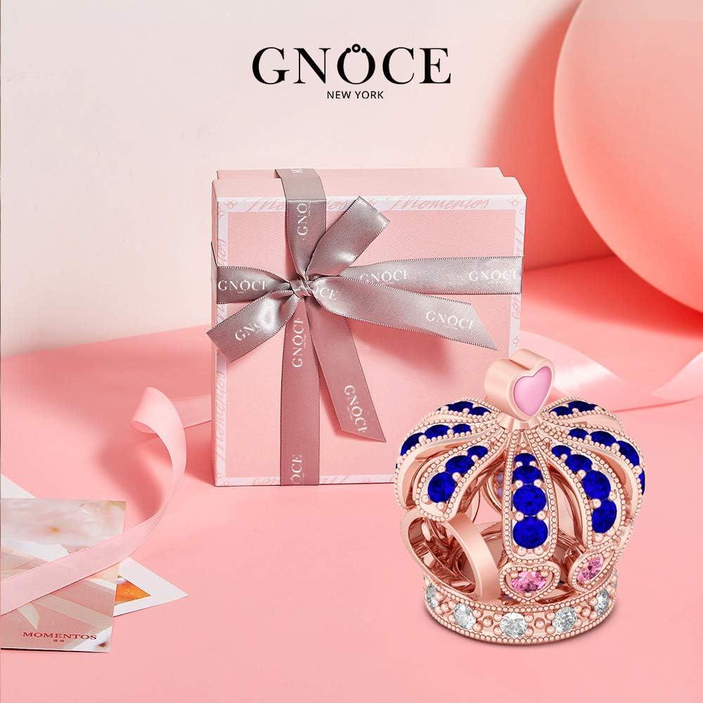 GNOCE Charm de Couronne en Argent Sterling 925Belle Couronne Charm Perle Plaqu/ée Or Rose Compatible avec Bracelets et Colliers Cadeau pour Femme Fille