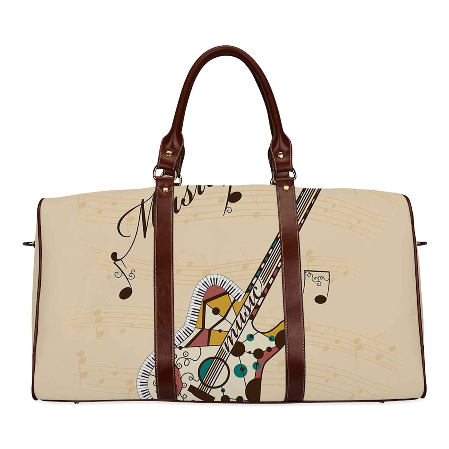Guitar Economic Travel Bag,Abstract Funky Guitar Instrument Melody Musical Notes and Hand Writing Decorative for Weekend,20.8''L x 12''W x 9.8''H by YOLIYANA