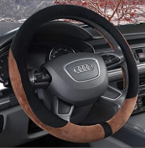 KAFEEK Steering Wheel Cover for Winter Warm, Short Microfiber Plush, Universal 15 inch, Anti-Slip, Odorless, Brown &Black