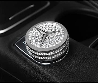 TopDall Crystal Bling Interior Media Multimedia Control Luxury Badge Emblem Decal Decoration Cover Sticker Trim Woman Gift for Mercedes Benz