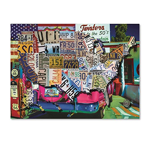 USA License Plate Map Route 66 by Masters Fine Art, 14x19-Inch Canvas Wall Art