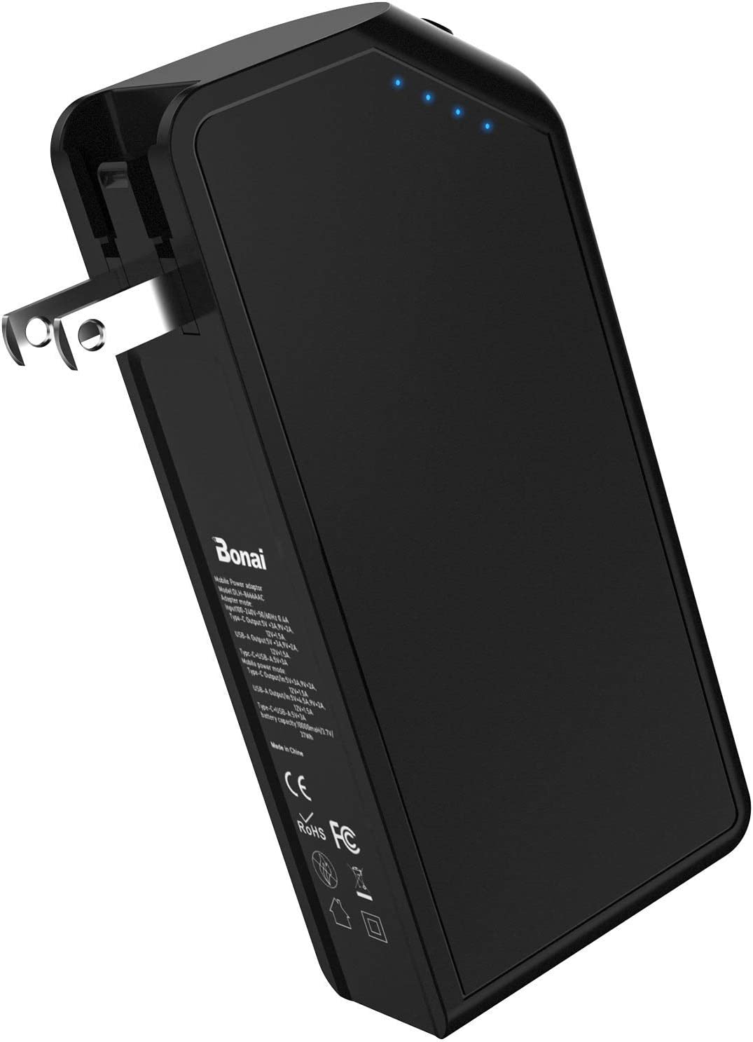 10000mAh Portable Charger USB C, BONAI PD 18W High Speed Portable Power Bank with Built-in AC Wall Plug External Battery Pack for iPhone 12, Samsung Galaxy and More, Black