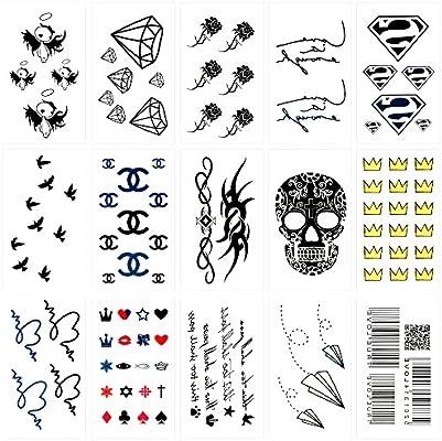 Oottati 15 Hojas Pequeñas Cute Tatuajes Temporales Cráneo Corona ...