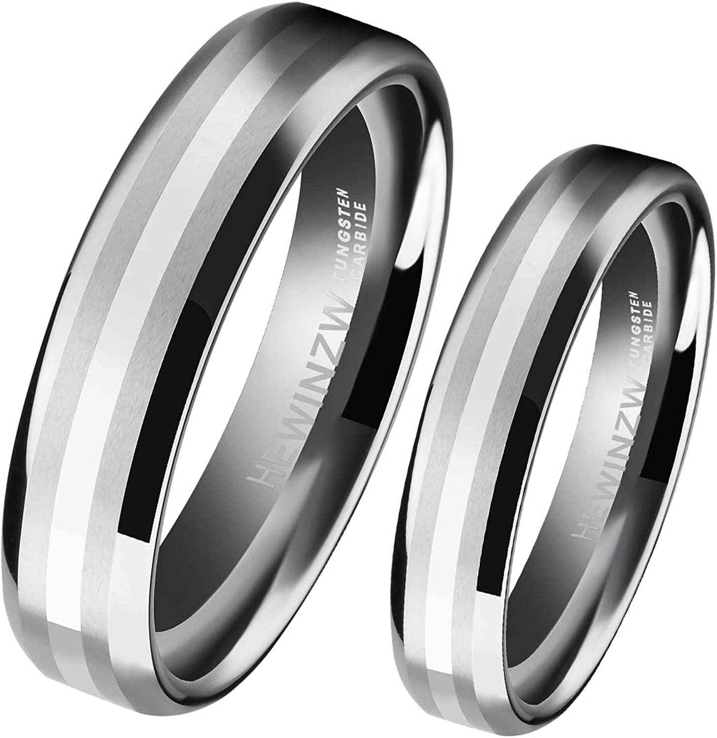 HEWINZW Tungsten Rings His Her Center 6mm/8mm Inlaid 14k White Gold Mens Womens Couple Wedding Band Comfort Fit