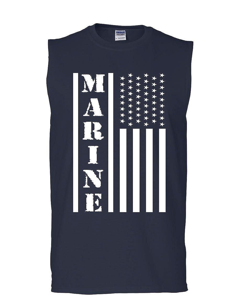 Tee Hunt Marine Flag Military Muscle Shirt Patriot Stars /& Stripes POW MIA Sleeveless