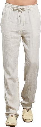 Uaisi Pantalones De Lino Para Hombre Verano Comodo Largo Cintura Elastica Casual Pantalon Blanco Amazon Es Ropa Y Accesorios