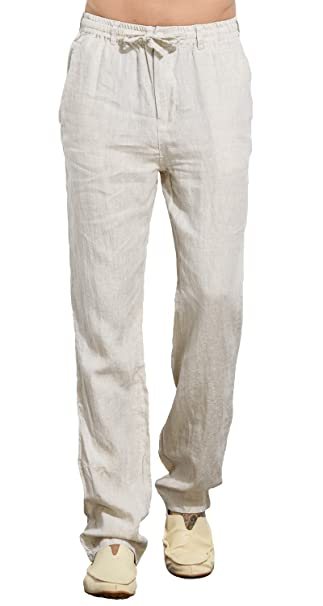 UAISI Pantalones de Lino para Hombre Verano Cómodo Largo Cintura Elástica Casual Pantalón Blanco: Amazon.es: Ropa y accesorios