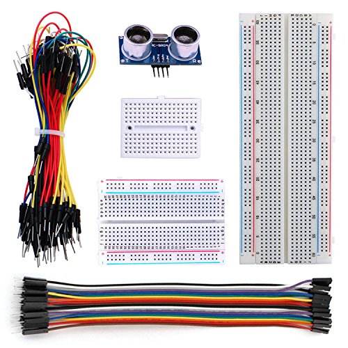 Arduino Kit with HC-SR04 Ultrasonic Sensor Distance Sensor & Solderless Breadboard 170 Point 400 Point 830 Point & Jumper Wires Male to Male 65pcs & Male to Female 20pin by DingMai