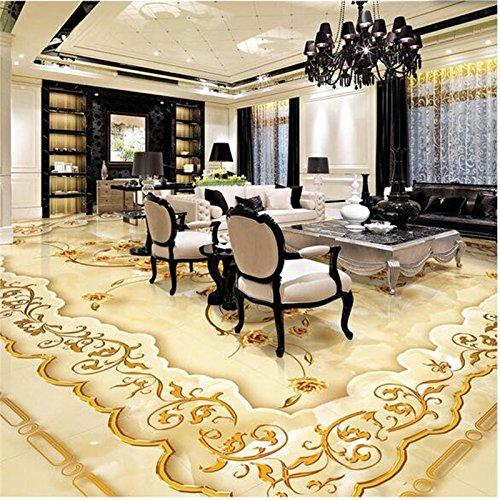 LHDLily 3D Wallpaper Mural Wall Sticker Thickening Pvc Flooring Custom Bathroom Flooring European-Style Luxury Rose Marbles In Flooring For 400cmX300cm