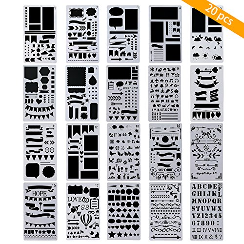 Family Calendar Templates (TedGem 20 Pack Journal Stencil - Plastic Planner Stencils Bullet Journal Stencil Set DIY Drawing Template Stencil for Journal/Diary/Calendar/Planner/Scrapbook, 4x7 Inch)