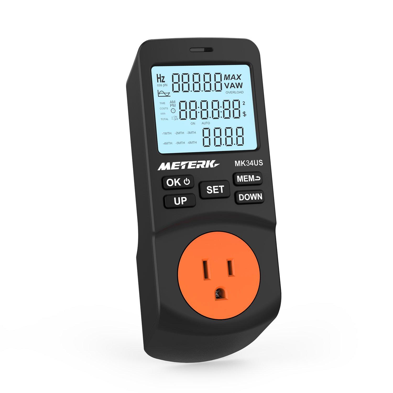 Power Meter Plug, Meterk Electricity Usage Monitor Plug-in LCD Power Watt Meter Digital Timer Socket Energy Consumption Monitor 12/24 Mode