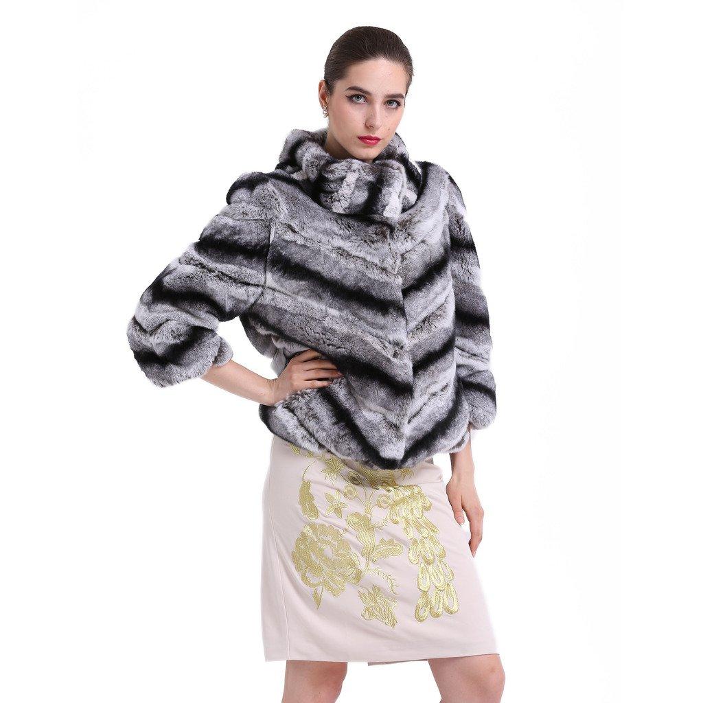 TOPFUR Womens Overcoat Chinchilla Rabbit Fur Coat Lapel Collar Outerwear(US 12) by TOPFUR