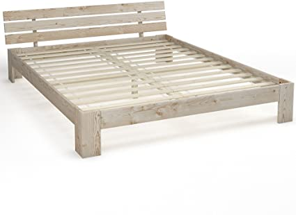 Madera cama doble madera 140 x 200 160 x 200 180 x 200 cm madera maciza estructura de cama con somier Blanco o natural
