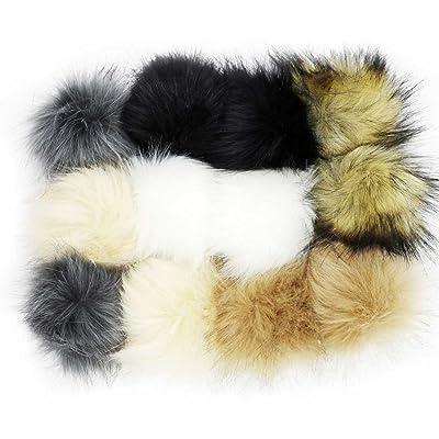 ILOVEDIY BRICOLAGE 12Pcs Faux Renard Fourrure Pompon Boule Fluffy 10cm pour Tricot Chapeau Chapeaux